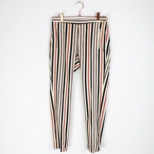 Zara Basic Cream Striped Flat Front Trouser Pant